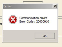 Communication error! Error Code : 200000 10