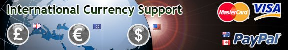 Currencies supported EUR, USD, GBP (credit/debit card/paypal) + CAD and AUD through Paypal