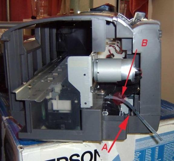 Internal view of printer side